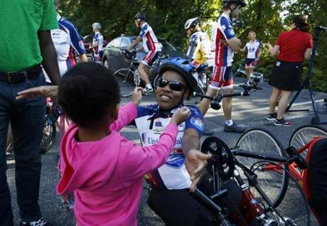 Mery Daniel and her daughter, Ciarra, 5, embraced before the local segment of the Boston-to-Philadelphia ride began.